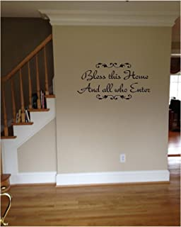 Amazoncom Bless This Home And All Who Enter Wall Decals Quotes - Custom vinyl wall decals sayings for home
