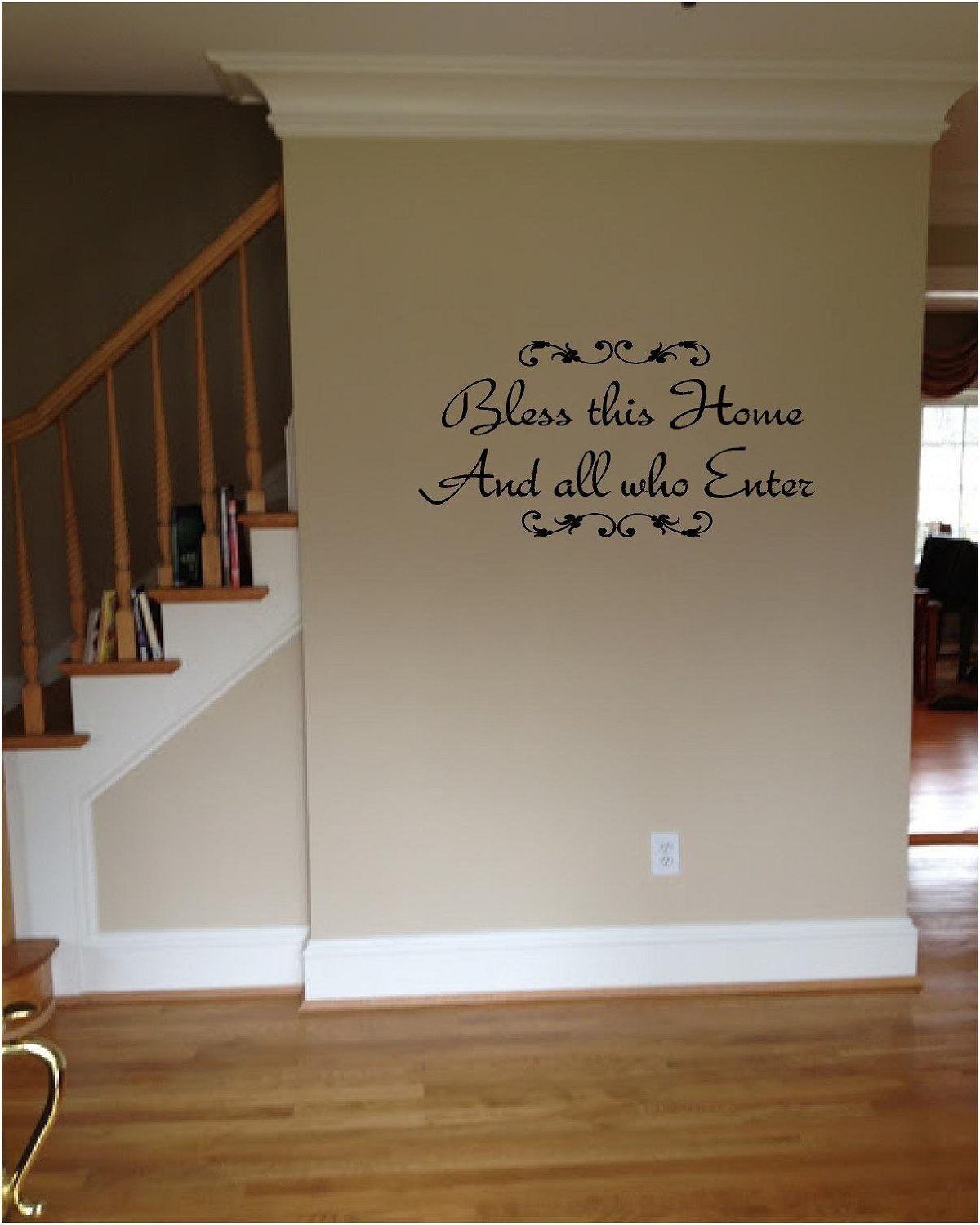 SWORNA English Proverb Series Bless This Home And All Who Enter Fancy Vinyl  Wall Quotes Welcome Bless Religious Sayings Wall Saying Vinyl Decal ...