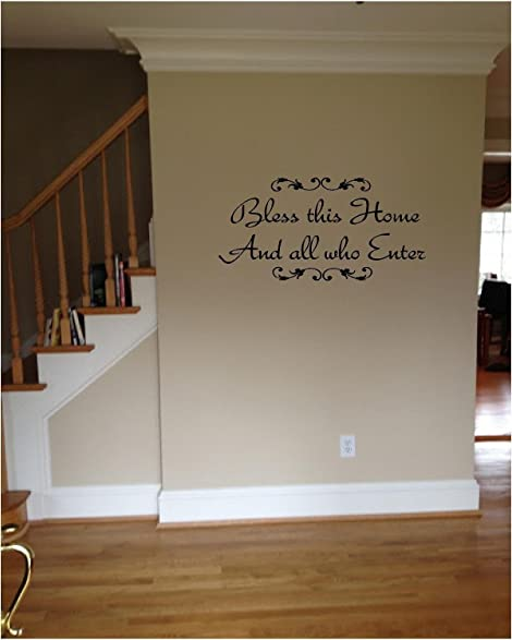 SWORNA English Proverb Series Bless This Home And All Who Enter - Custom vinyl wall decals saying