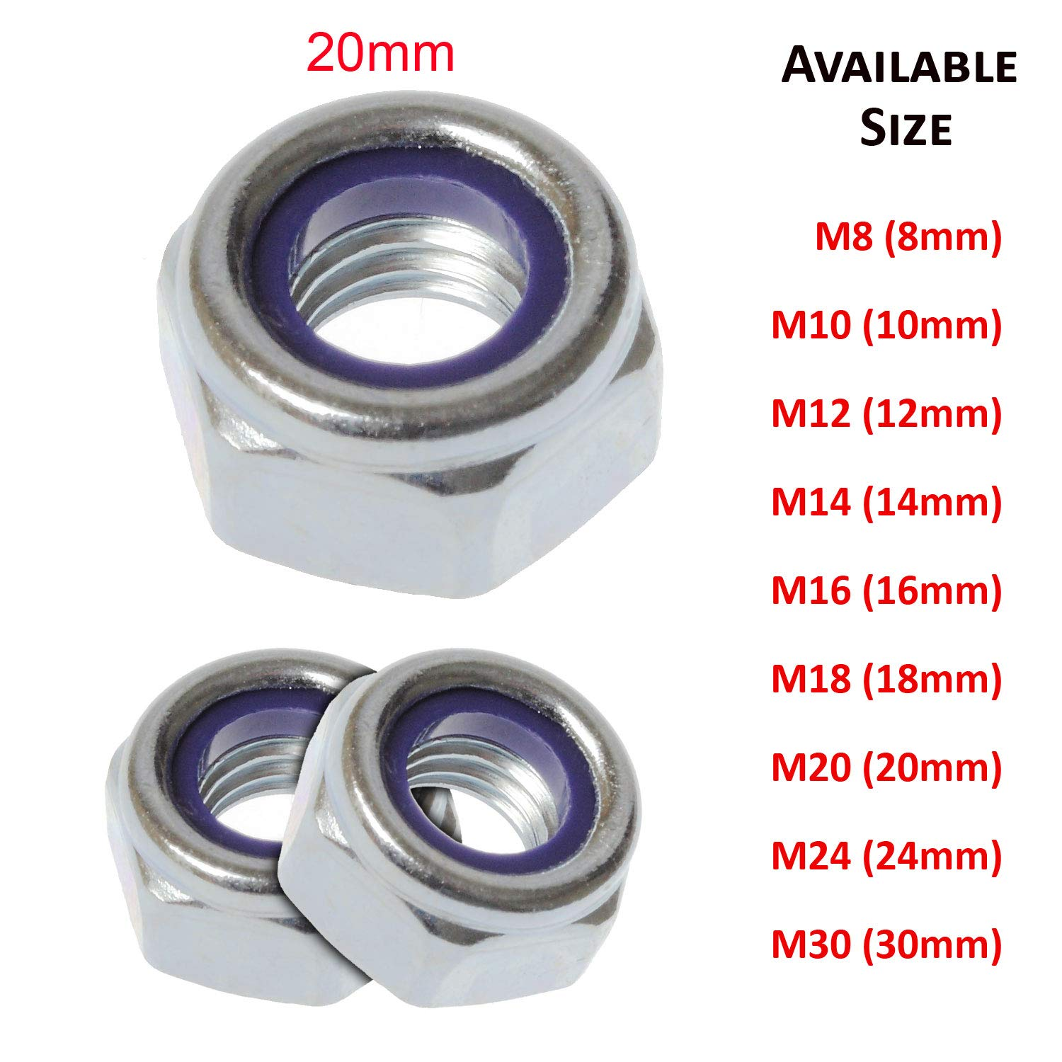 (18mm) M18 Nyloc Lock Nuts Nylon Insert Nuts Type T Bright Zinc Plated CR3 Grade 10 DIN 985 - Pack 5 SHUKAN