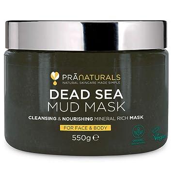 PraNaturals 550g Mascarilla Facial y Corporal 100% Natural y Orgánica con Barro del Mar Muerto
