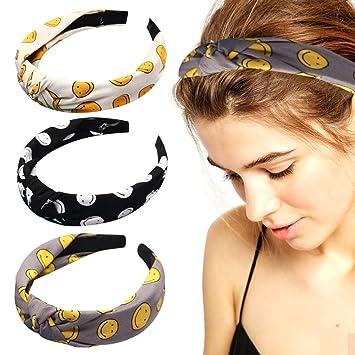 Amazon.com   Bows Fashion Headbands Emoji Hair Bands Set of 3 Hard Headband  Knot Turban Hair Bow Hair Wrap Accessories for Women Girls (3pcs)   Beauty 5894241738f
