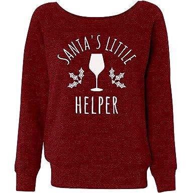 customized girl wine christmas sweater santas help ladies triblend wideneck sweatshirt
