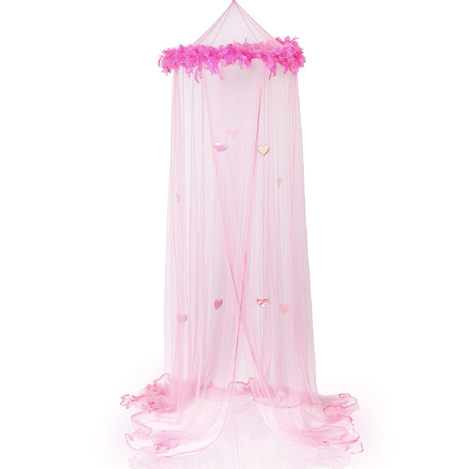 Bobo and Bee - Luxury Princess Bed Canopy Mosquito Net for Girls, Teens or Over Baby Crib in Nursery.Comes with Hanging Kit. Premium Feather Boa and Sparkly Hearts, Twin Size. Pink