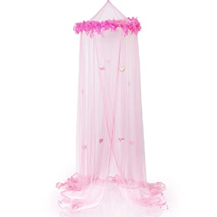 Amazon.com Boho and Beach Princess Feather Boa Bed Canopy Mosquito Net for Girls with Sparkly Hearts Pink Home u0026 Kitchen  sc 1 st  Amazon.com & Amazon.com: Boho and Beach Princess Feather Boa Bed Canopy Mosquito ...