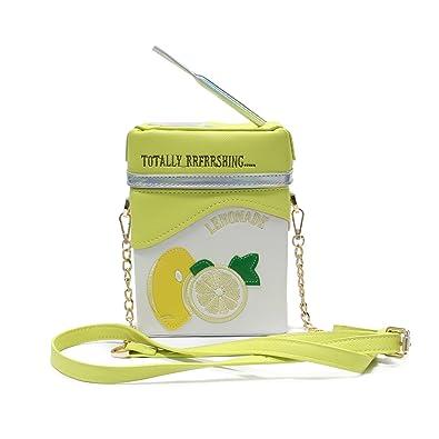 ed8f9fa2d5ed LUI SUI-Cute Laser Shoulder Chain Bag Straw Lemon Milk Box Cross-body Bag