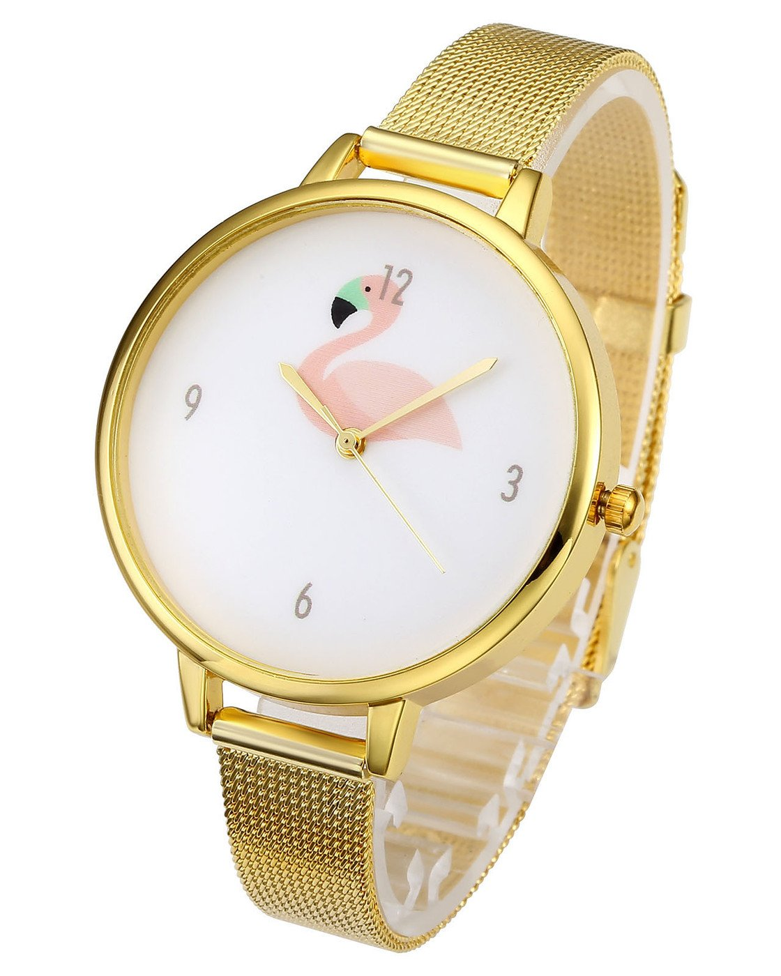 Top Plaza Womens Fashion Gold Tone Analog Quartz Bracelet Wrist Watch, Cute Pink Flamingo Pattern, Mesh Metal Thin Band
