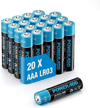 Oferta amazon: Poweradd Pilas Alcalinas AAA Baterías LR03 de 10 Años Larga Duración para Linternas, Relojes, Mandos a Distancia, Juguetes-20 Unidades de 1.5V