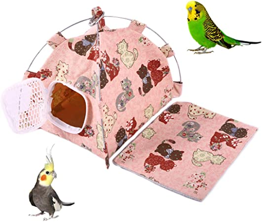 Amazon Com Adnikia Parrot Habitat Cave Hanging Tent With A Changing Mat Bird Hamster Chinchillas Perched Hammock Cage For Cockatiel Cockatoo Conure Lovebird Budgie African Grey Amazon Macaw Eclectus Large Pet