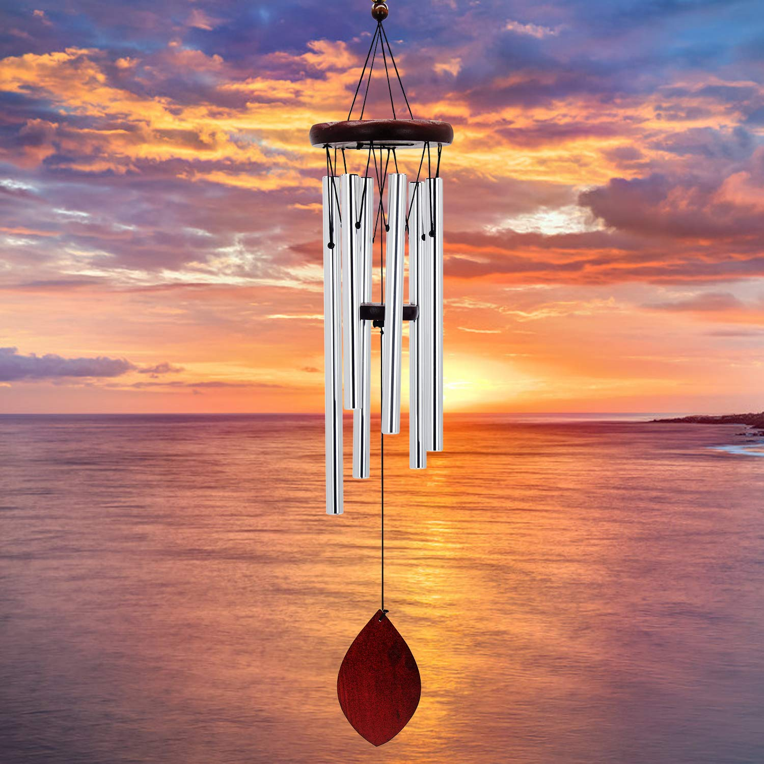 """Sympathy Wind Chimes Outdoor, 28"""" Memorial Wind Chimes with Relaxing, Tuned Sound, Classical Amazing Grace Wind Chimes with 6 Metal Tubes for Outdoor Indoor Patio Garden and Home Decor (silver)"""