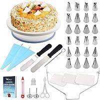 WisFox Cake Turntable, Torta Giratoria, Decoración de Pasteles 24 Boquillas Torta giratoria, 2 Piezas Espátula de…