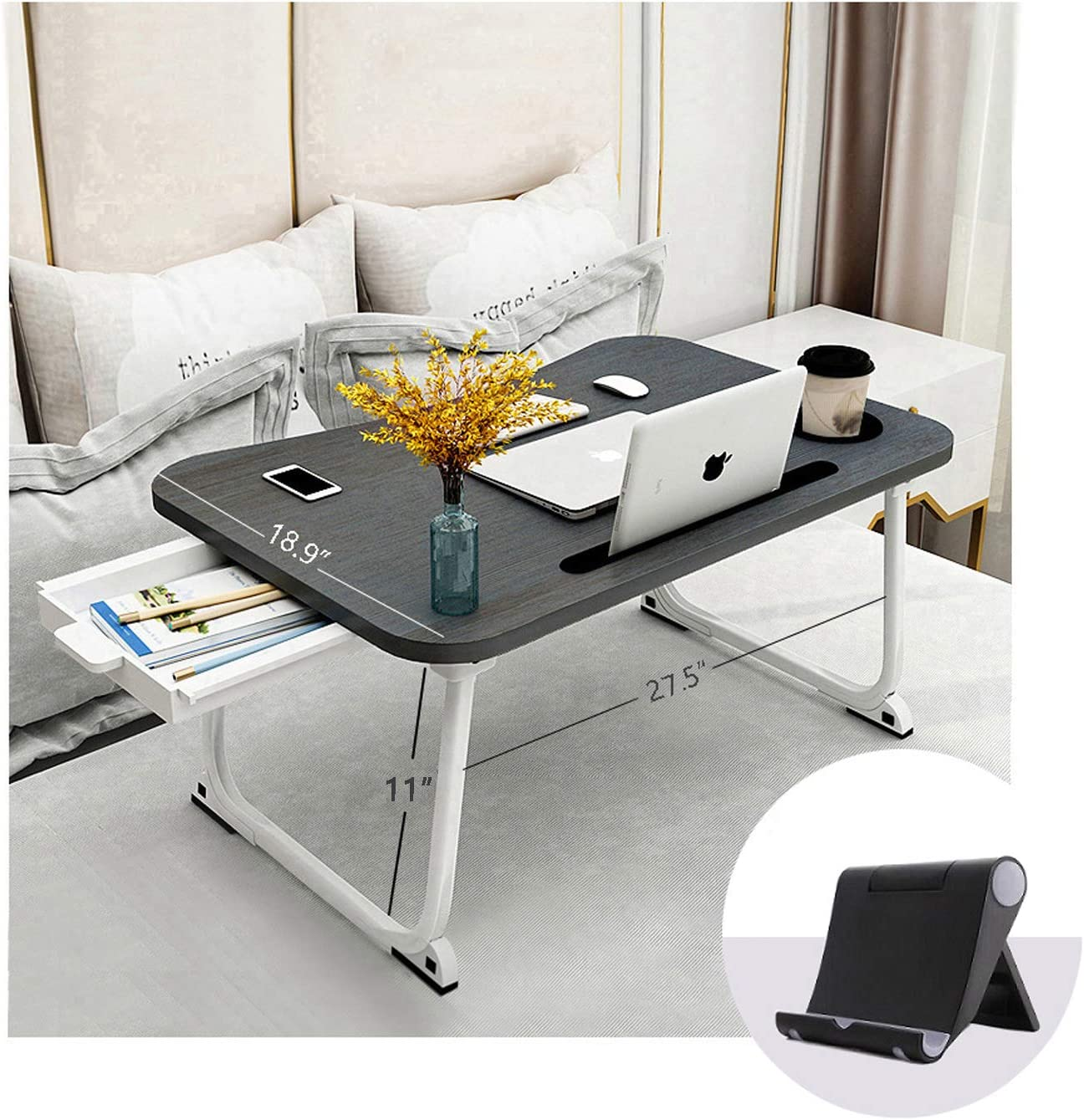 "Bed Tray Lap Desk, XXL Portable Laptop Table with Cup Holder, Foldable Laptop Stand with Storage Drawer and Phone Stand, Ergonomic Standing Laptop Tray in Bed/Couch/Sofa/Office(27.5""x18.9""x11"")"