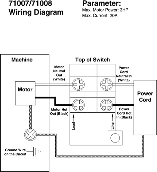 [SCHEMATICS_48IS]  Amazon.com: POWERTEC 71007 110/220V Paddle Switch: Home Improvement | Delta Table Saw On Off Switch Wiring Diagram |  | Amazon.com
