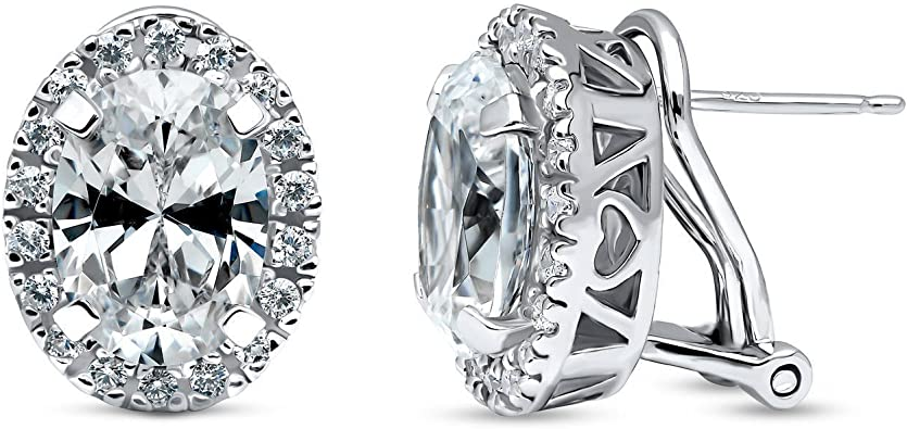 Sterling Silver Rhodium Plated Halo Style Round Cut Cubic Zirconia Earrings