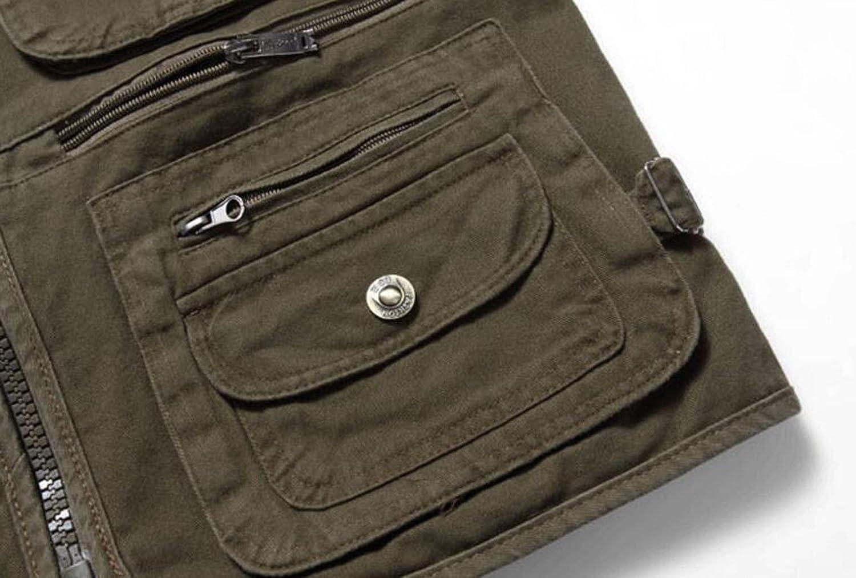 Color : Beige, Size : L GHGJU Mens Outdoor Cotton Loose Multi-Pocket Vest Middle-Aged Vest Cowboy Waistcoat