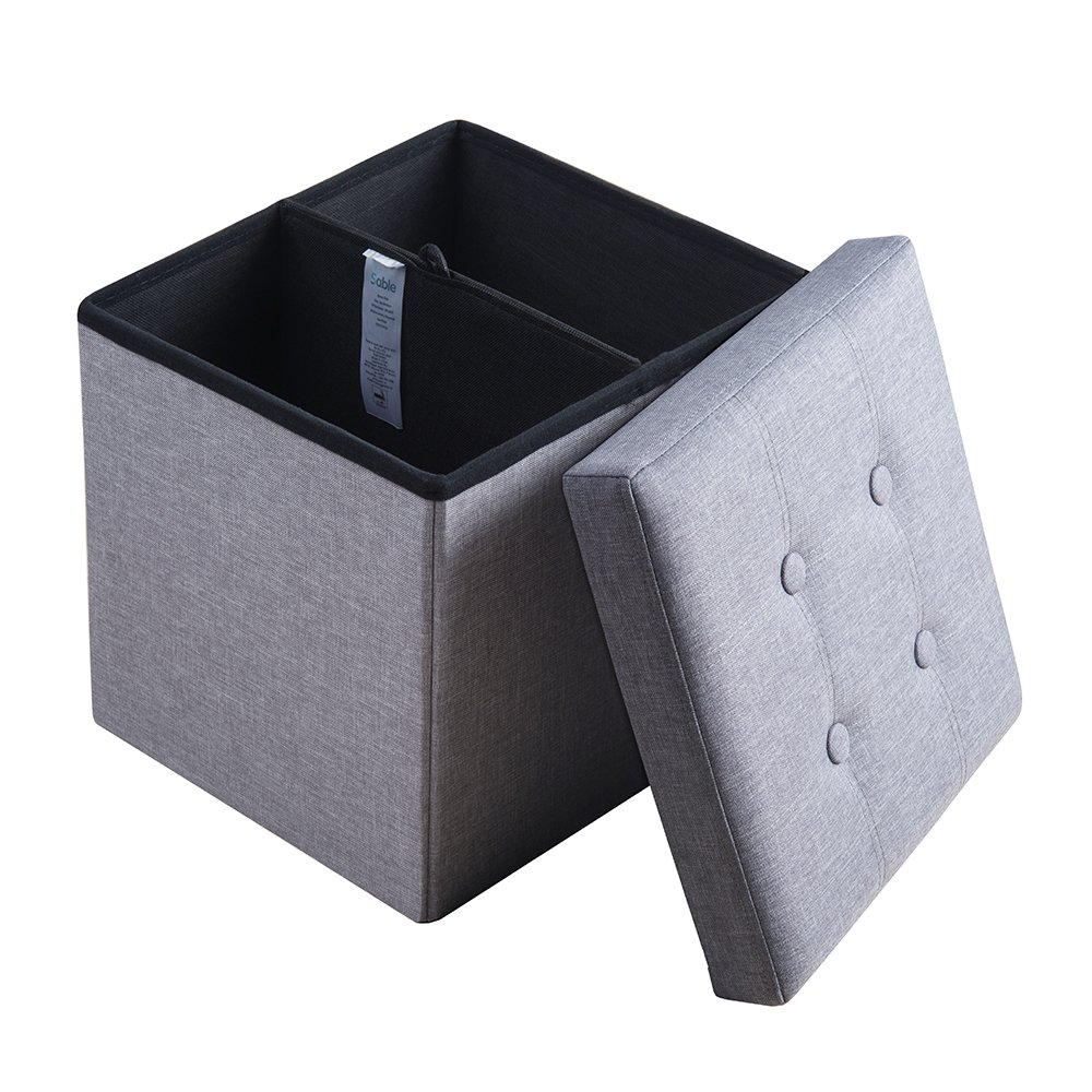 Sable Storage Ottoman Cube 15 inches, Folding Bench with Highly Elastic Sponge Filling, Linen Fabric Foot Stool, Foldable Seat Footrest, Gray