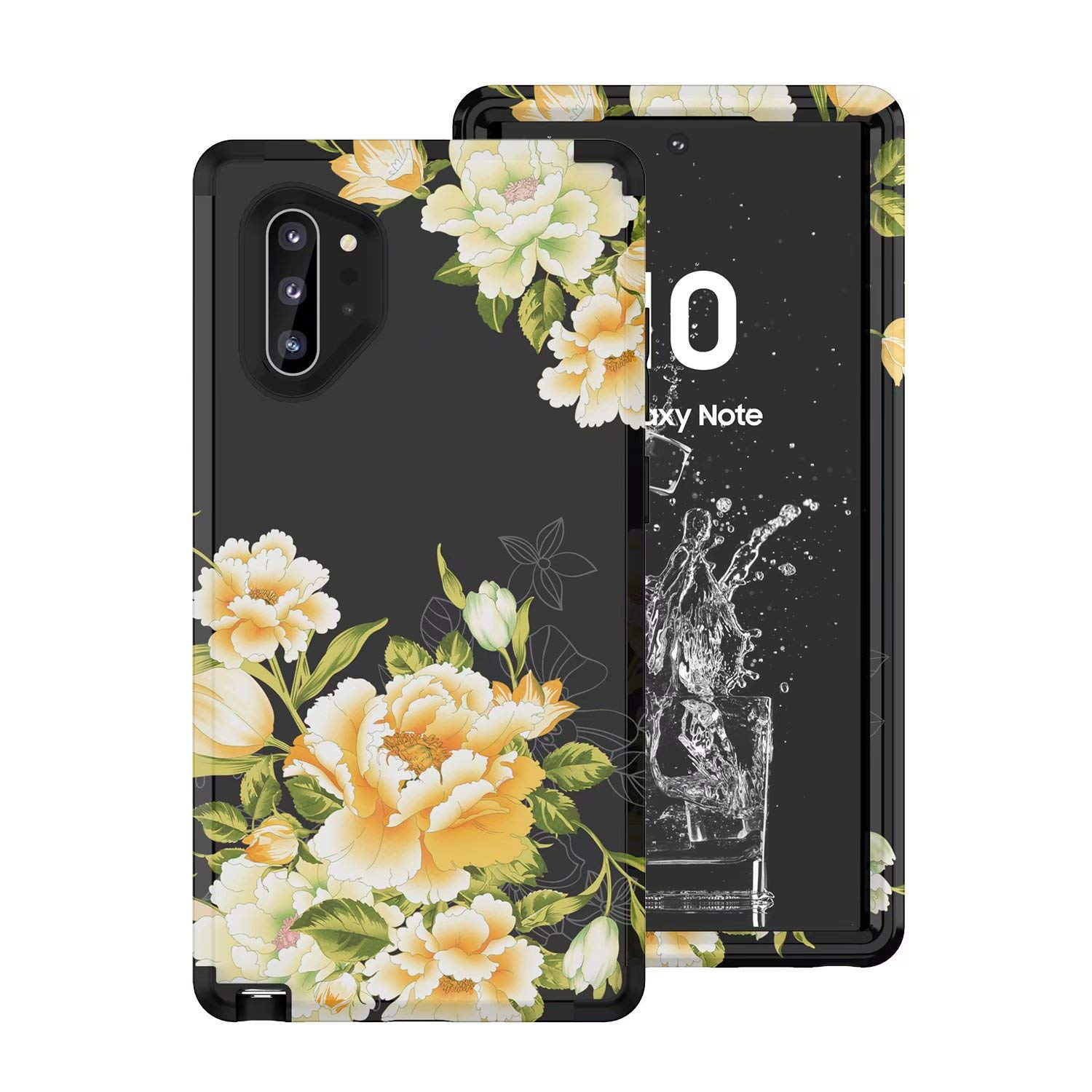 Tznzxm Galaxy Note 10 Plus Case, Slim Floral 3 in 1 Hybrid Hard PC Soft Rubber Heavy Duty Sturdy Armor Shockproof Defender Non-Slip Protective Back Case for Samsung Galaxy Note 10+ Plus/Pro/5G Black by Tznzxm
