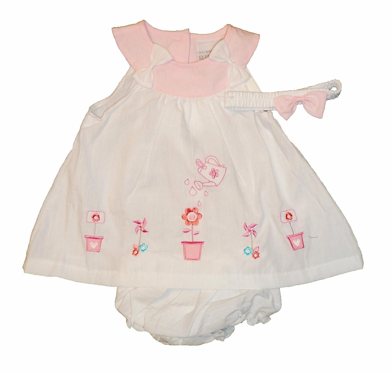 Bebé Niñas Verano Vestido Blanco Bordado macetas y regadera ...