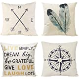 Decorative Throw Pillow Covers Set of 4 Cotton Linen Cushion Covers 18 x 18 inch