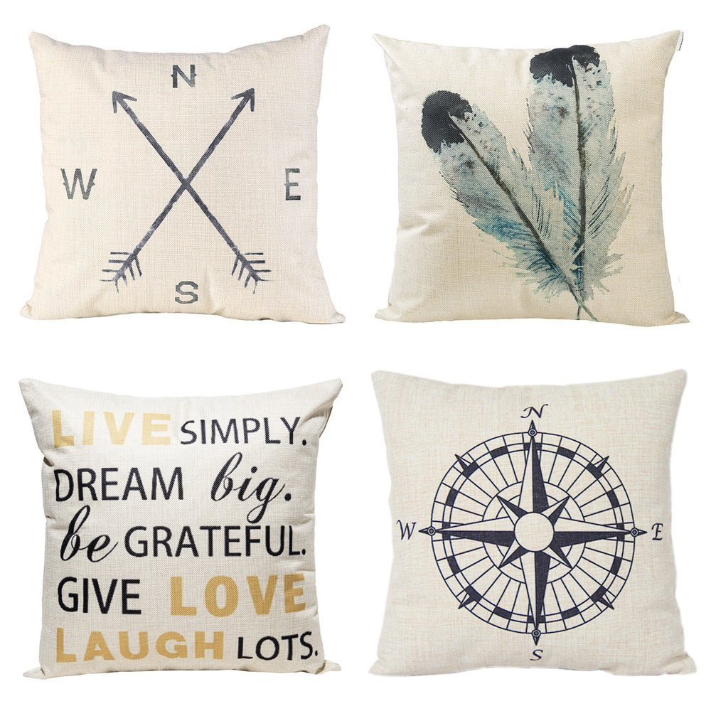 Throw Pillow Covers.Anickal Decorative Throw Pillow Covers 18x18 Inches Set Of 4 Cotton Linen Compass Arrow Feather Live Love Laugh Quote Couch Pillow Covers For Modern