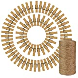 50pcs Wood Clothes Pins with 320 Feet Natural Jute