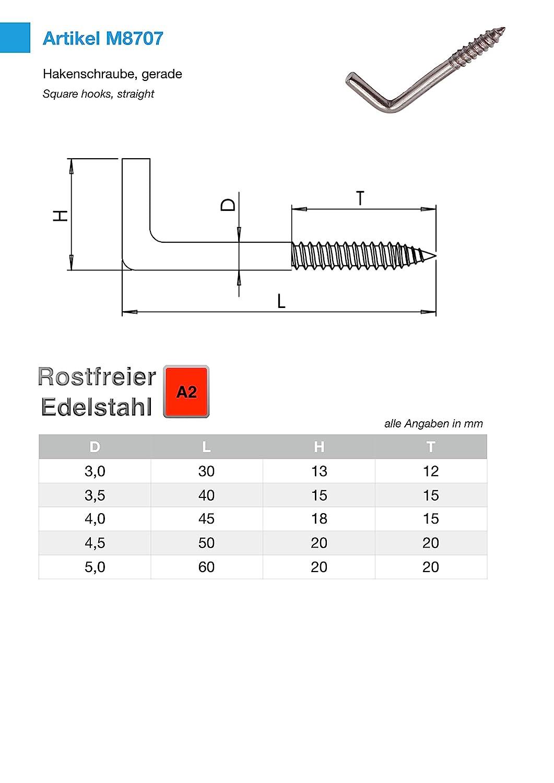 10 St/ück 4.5 x 50 mm Hakenschraube Edelstahl rostfrei L-Haken V2A Inox Holzgewinde