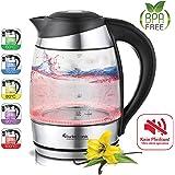 2200W Glas Wasserkocher mit Temperaturwahl 60°C 70°C 80°C 90°C 100°C einstellbar 1,8 Liter Warmhaltefunktion BPA FREE