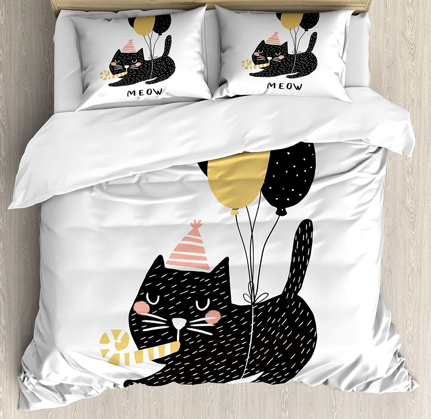 B05 King B05 King Lncropo Cat King Size Duvet Cover Set, Birthday Party Feline with Balloon and Hat Hand Drawn Festive House Pet, Decorative 3 Piece Bedding Set with 2 Pillow Shams, Pale Pink Pale Brown Black