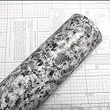 Teemall Light White Granite Look Marble Gloss Film Vinyl Self Adhesive Kitchen Countertop Peel Stick Wallpaper Decal 17.7''x98'' (Terrazzo)