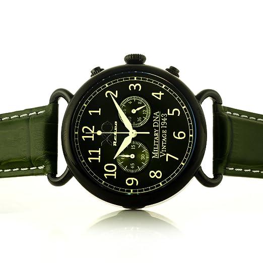 B-17 Flying Fortress segunda guerra mundial bombardero avión ADN colección Cronógrafo Verde Dial Verde Correa 01 A: Amazon.es: Relojes