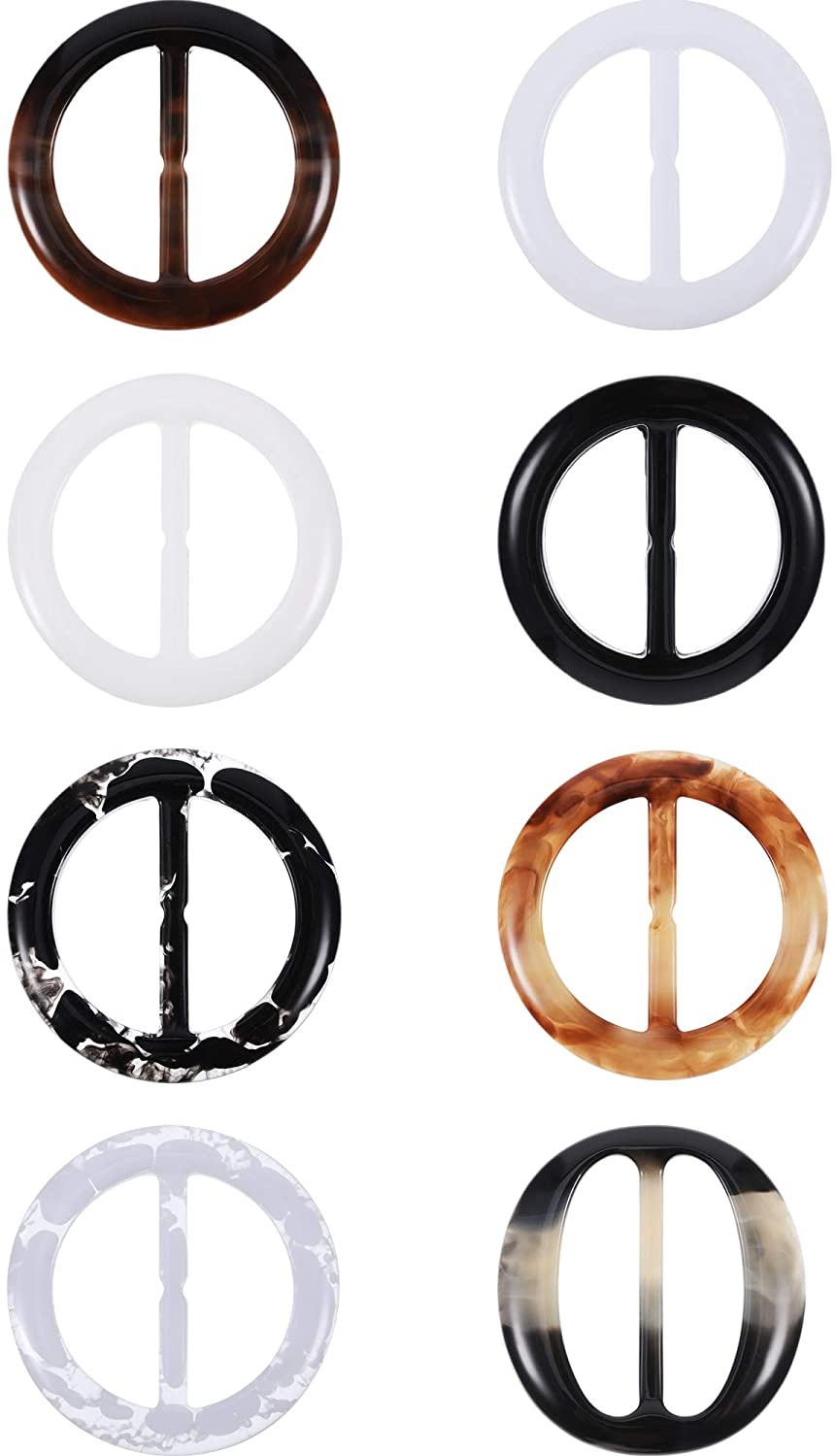 Plastic Round Elegant Tee Shirt Clips, Scarf Clips, 2 Inches, 8 Colors, 16 Pieces (Color A, Size A)