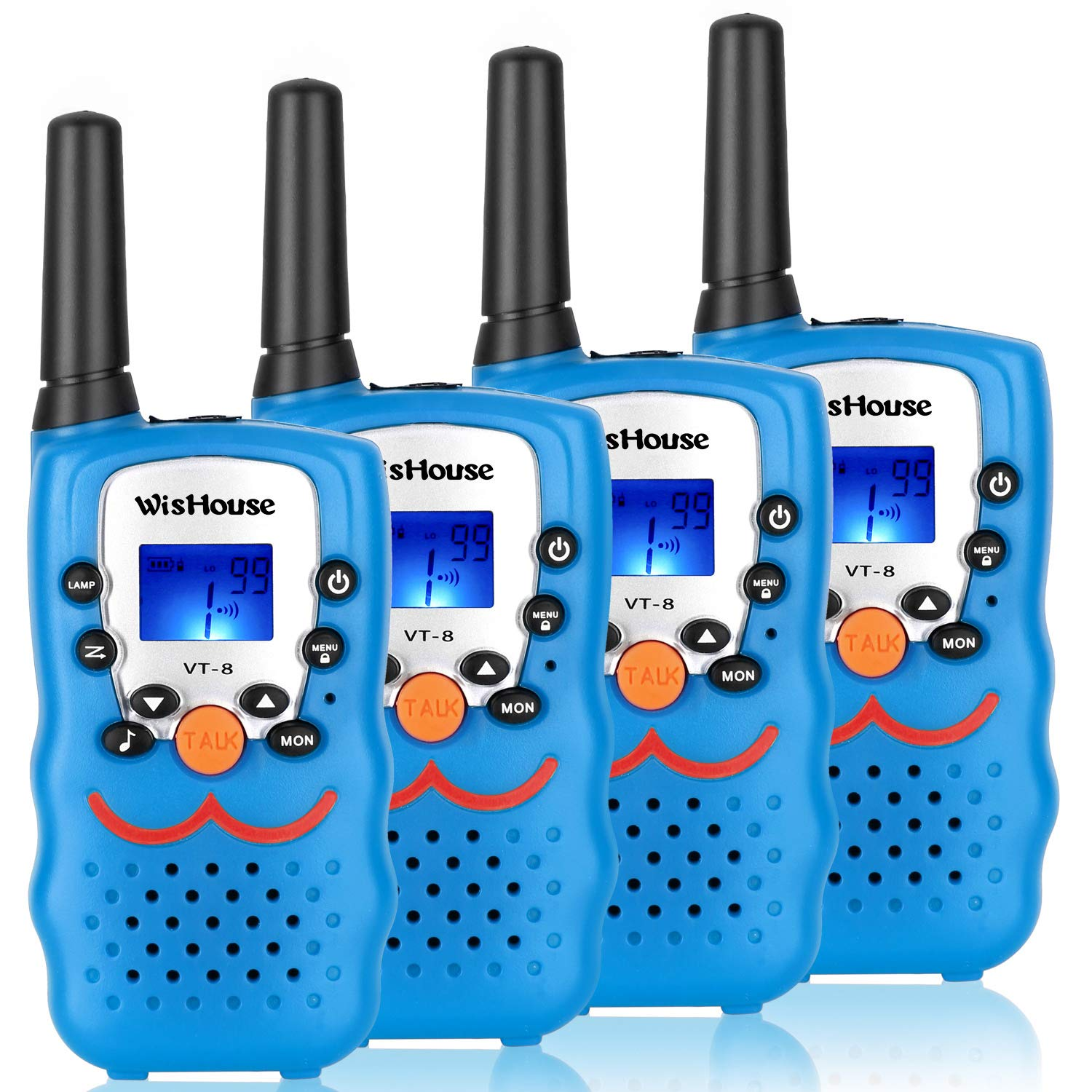 Walkie Talkie 4 Pack,Voice Activation Walkie Talkies for Boys, Best Toys Walky Talky 3 Miles Long range 22 Channels Handheld FRS GMRS Two Way Radios Hunting Hiking Camping (VT-8 Blue) by Wishouse (Image #1)