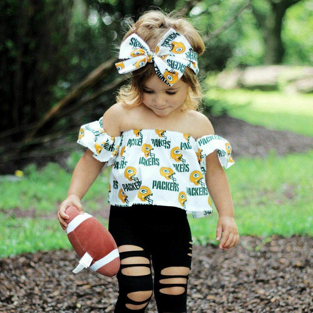 US Summer Toddler Girl Baby Clothes Tops Crop Ripped Jeans Long Pants Leggings 3PCS Outfits Set