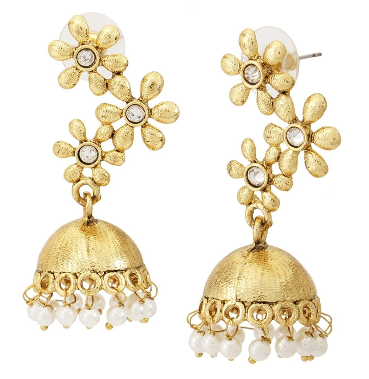 Buy The jewelbox Floral Gold Plated Matte Finish Jhumki Earring ...