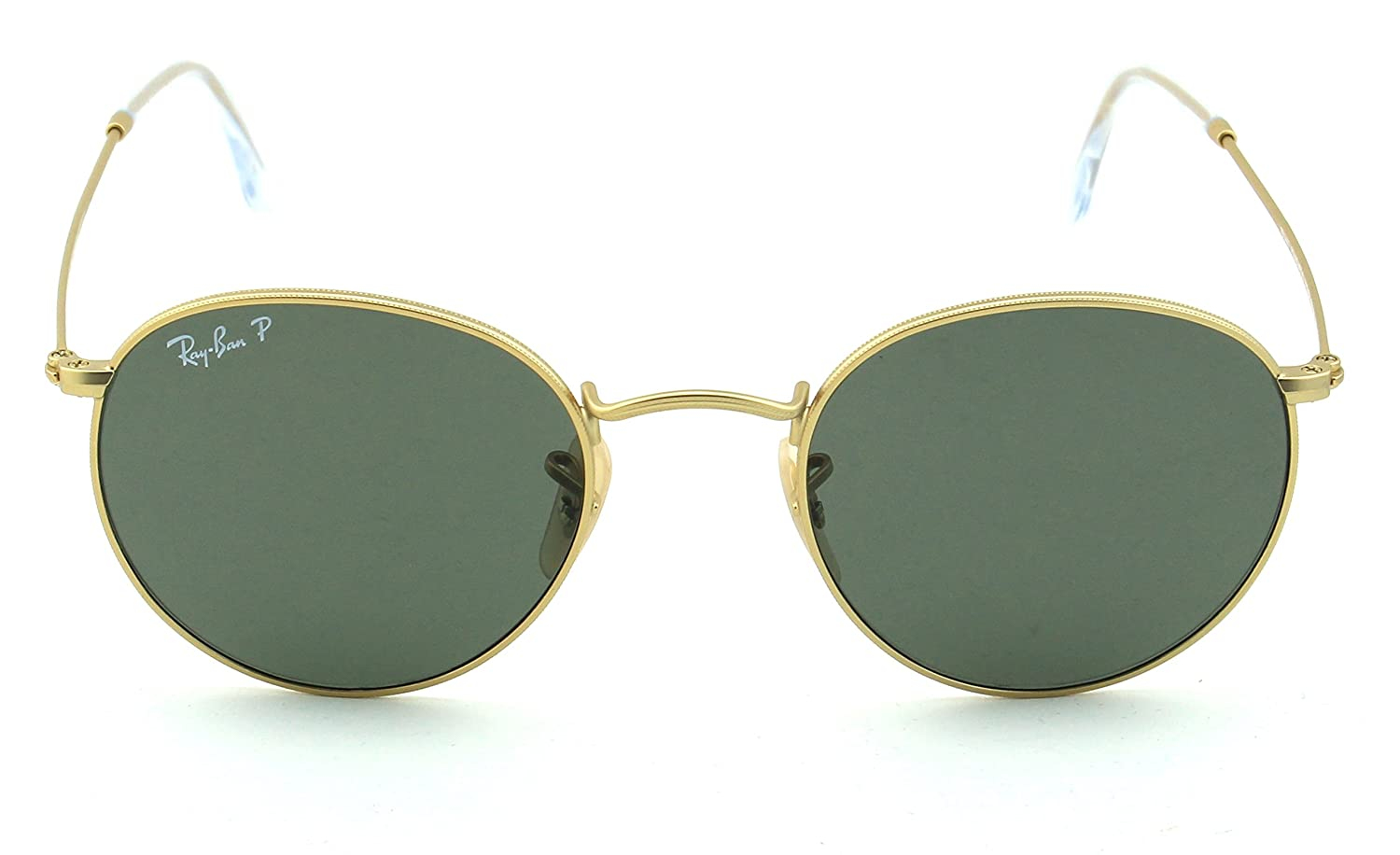 017526c2394 Amazon.com  Ray-Ban RB3447 112 58 Round Matte Gold Frame   Green Polarized  Lens 50mm  Clothing
