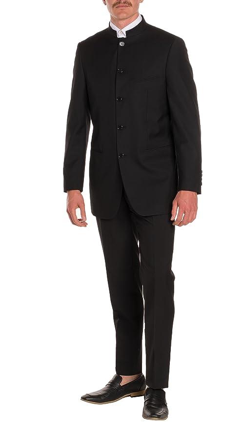 63d6d454b Ferrecci Mens Mandarin Collar Suit-Modern Fit-5 Button-Black-2 Piece at Amazon  Men's Clothing store: