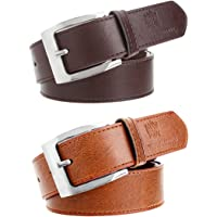 Hob London Fashion With Device Men's Synthetic Leather Belt (Brown, Free Size, Combo of 2)