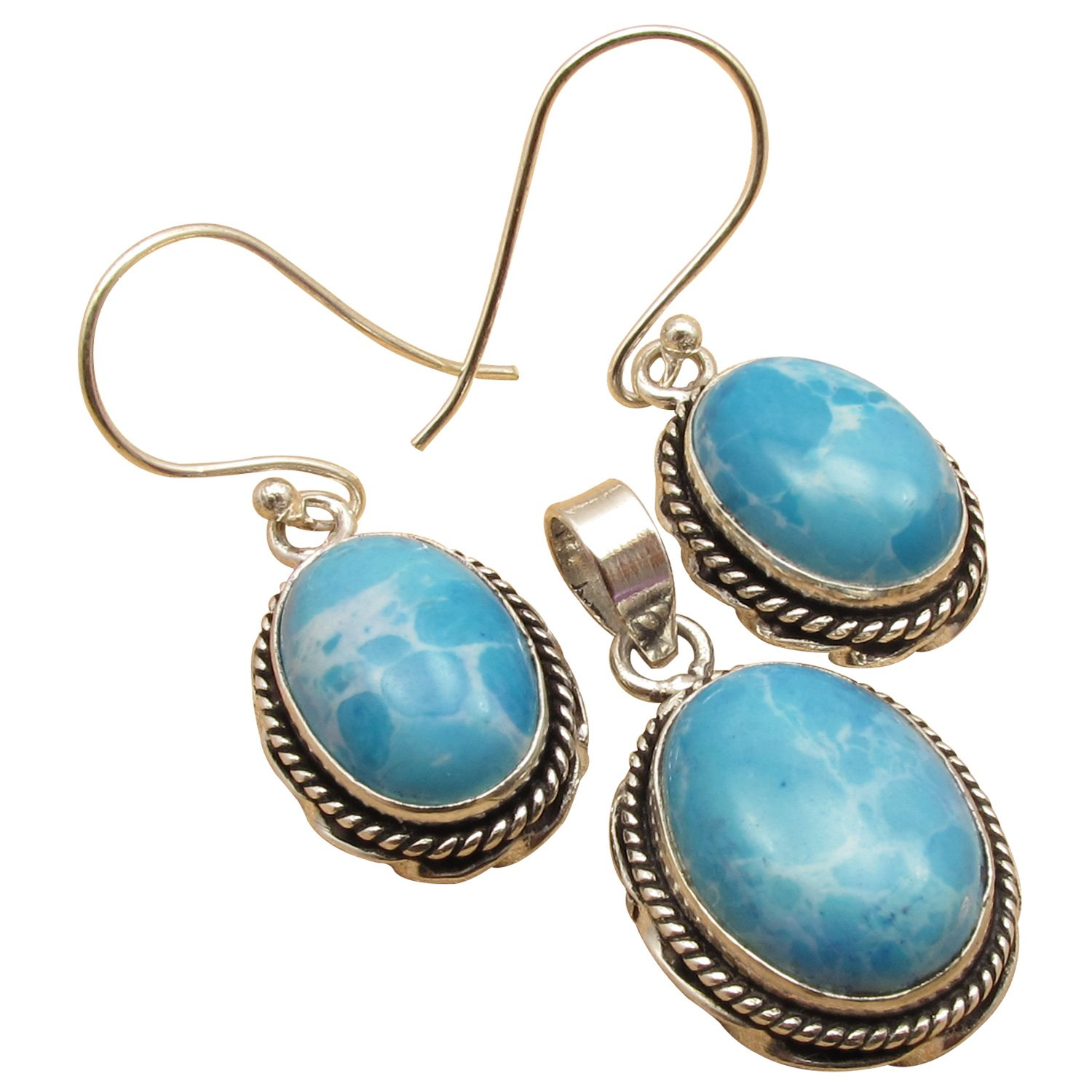 Oval Stone Handcrafted MATCHING Earrings & Pendant SET ! 925 Sterling Silver Plated Deco Jewelry
