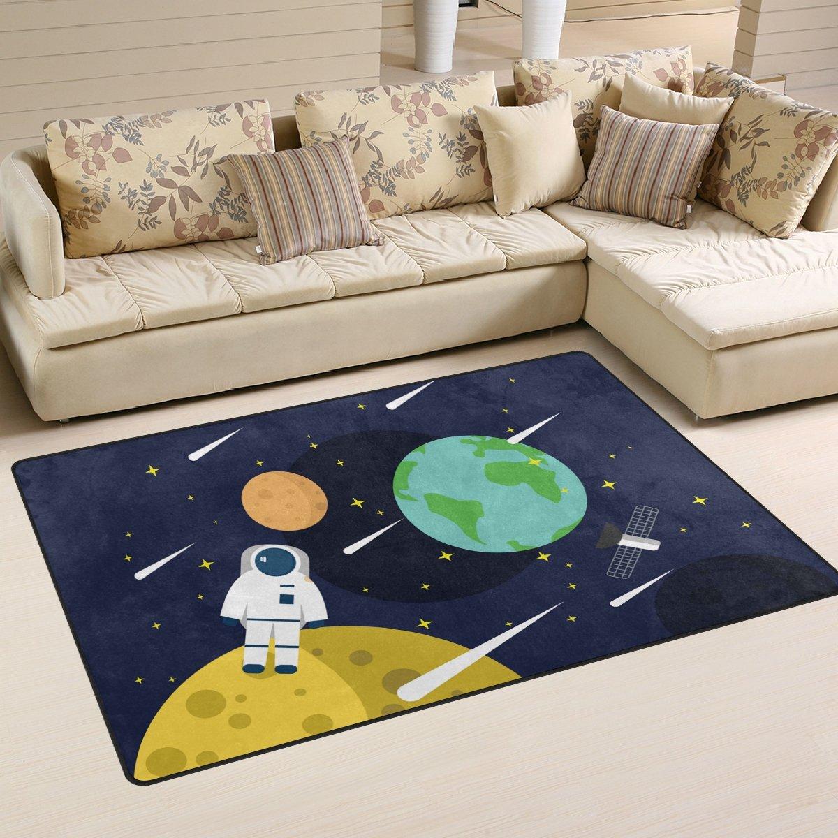 Folpply personnalisé décoratifs Espace étoiles planètes avec zone de fusées Tapis, Tapis de sol antidérapant pour intérieur/extérieur/Tapis de porte d'entrée de salle de bain/, 78,7x 50,8cm, Polyester, Color 01, 31 x 20 inch