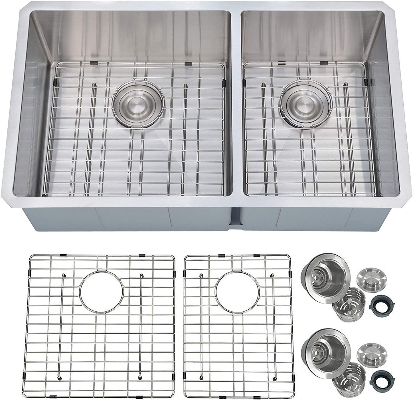 PRIMART PHU33DO Handcrafted 33 X 19 Inch 60 40 Double Bowls 16 Gauge Undermount Stainless Steel Kitchen Sink w Bottom Grid Sink Strainer