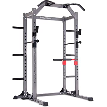 Body Power Deluxe Rack Cage System Enhanced with Upgrades/Full-Length Safety Bars/Built in Optional Floor Mount Anchors PBC5380