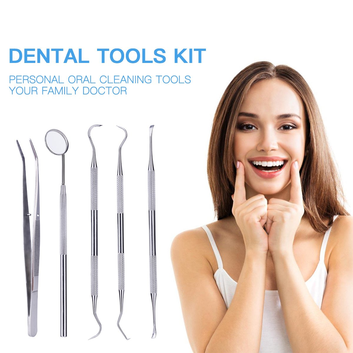 Dental Hygiene Kit,CkeyiN Professional 5-in-1 Stainless Steel Dental Tools Kit - Includes Dental Explorer, Mouth Mirror, Tartar Scraper, Dental Scaler and a Tweezers to Remove Plaque, Dental Cleaning, for Professional and Home Use