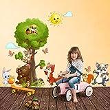 R00363 Adesivo murale per bambini Wall Art - Amici del bosco multicolore - Misure 40x120 cm - Decorazione parete, adesivi per muro, carta da parati