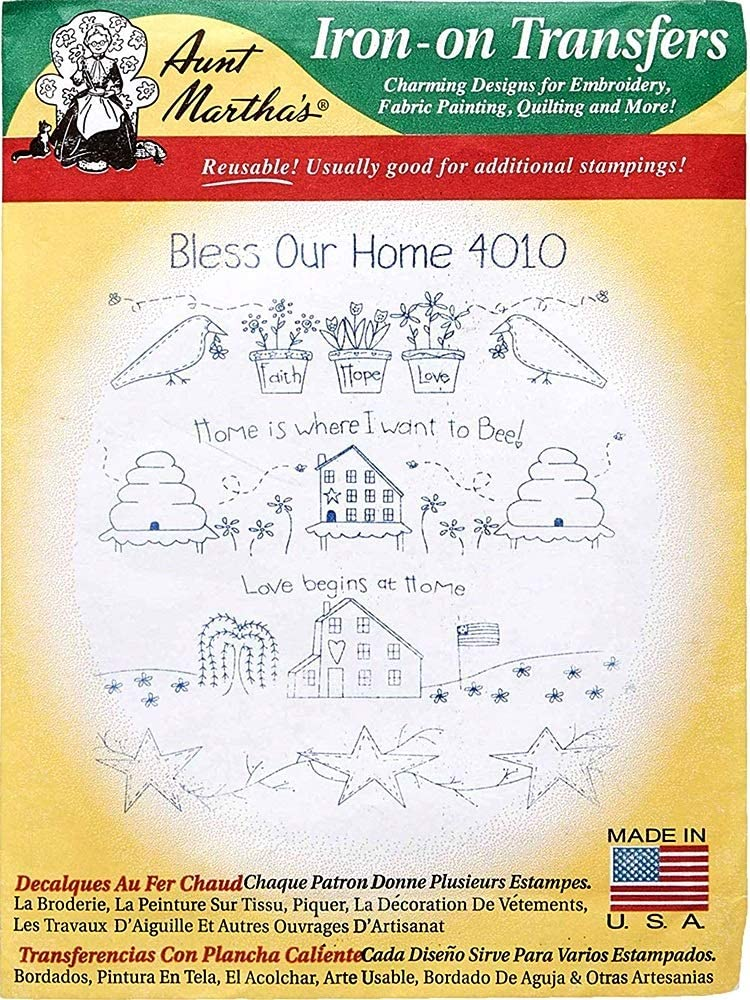 Aunt Martha's Hot Iron Embroidery Transfers 4010 Bless Our Home