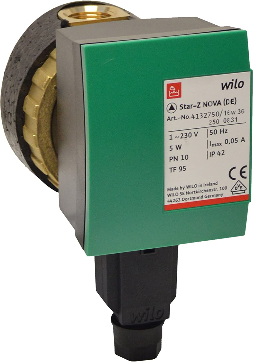 Wilo 4132760 Green / Black Star-Z NOVA Secondary Hot Water Circulating Pump, Glandless 4132750