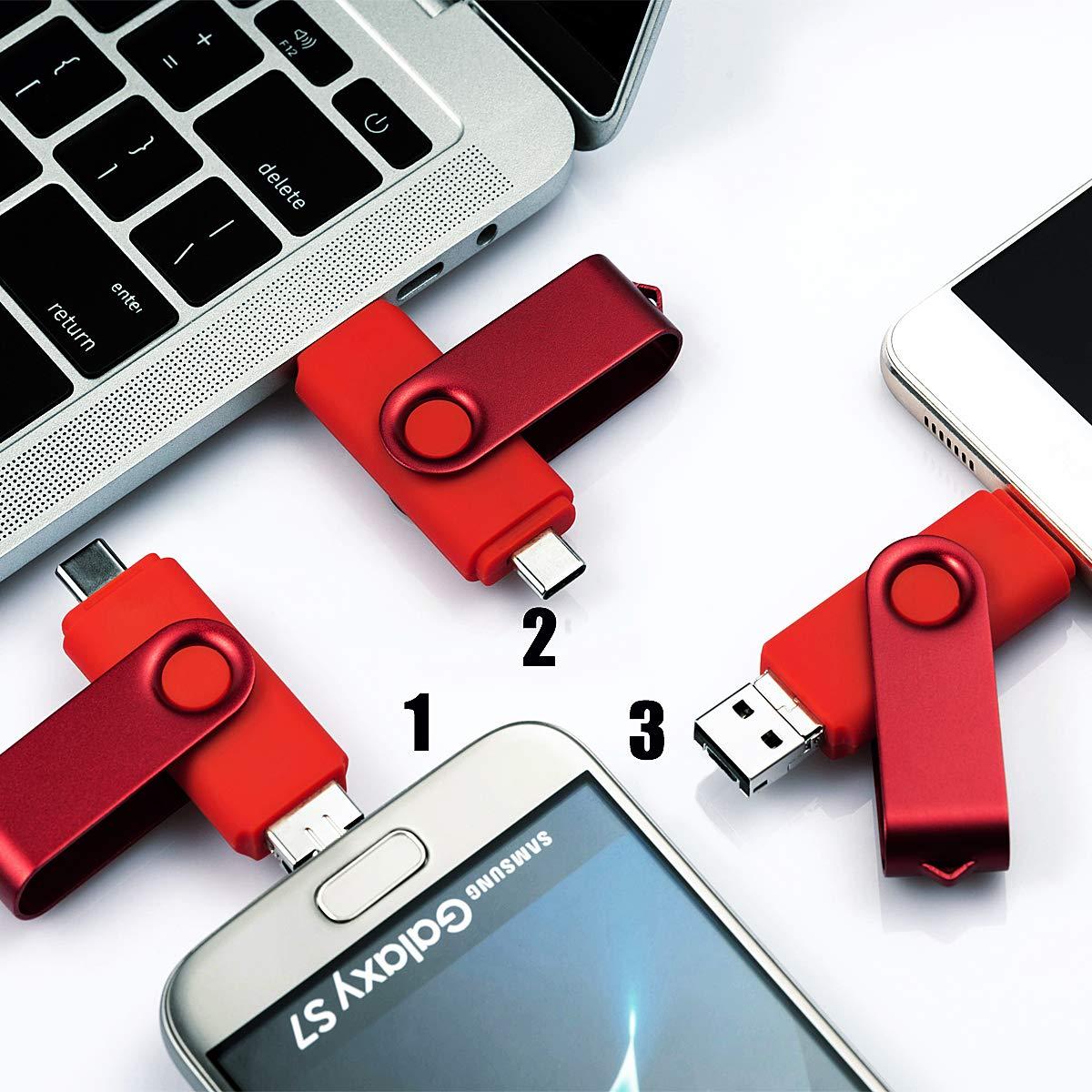 Cle USB 64 Go Type C Micro USB et USB 2.0 OTG 3 en 1 Pivotant M/émoire Stick Flash Drive U Disque Pliable Cl/é USB Originale pour Android Smartphone PC Tablette 64Go, Noir