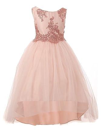 52a4d8f146b Kiki Kids Little Girls Blush Floral Lace Sequin Hi-Low Flower Girl Dress 2  Pink