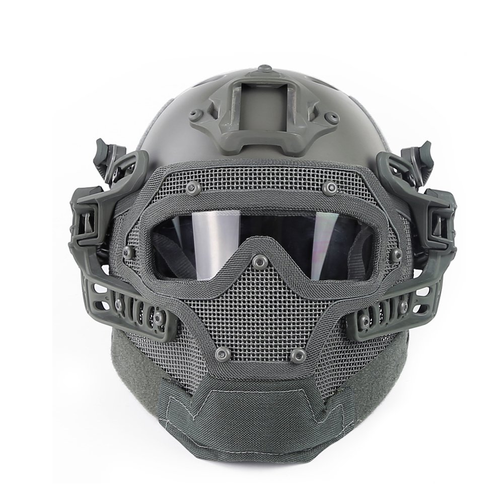 Amazon.com : WoSporT HL-20-PJ-G Fast Tactical Helmet Combined with Full Mask and Goggles for Airsoft Paintball CS : Sports & Outdoors