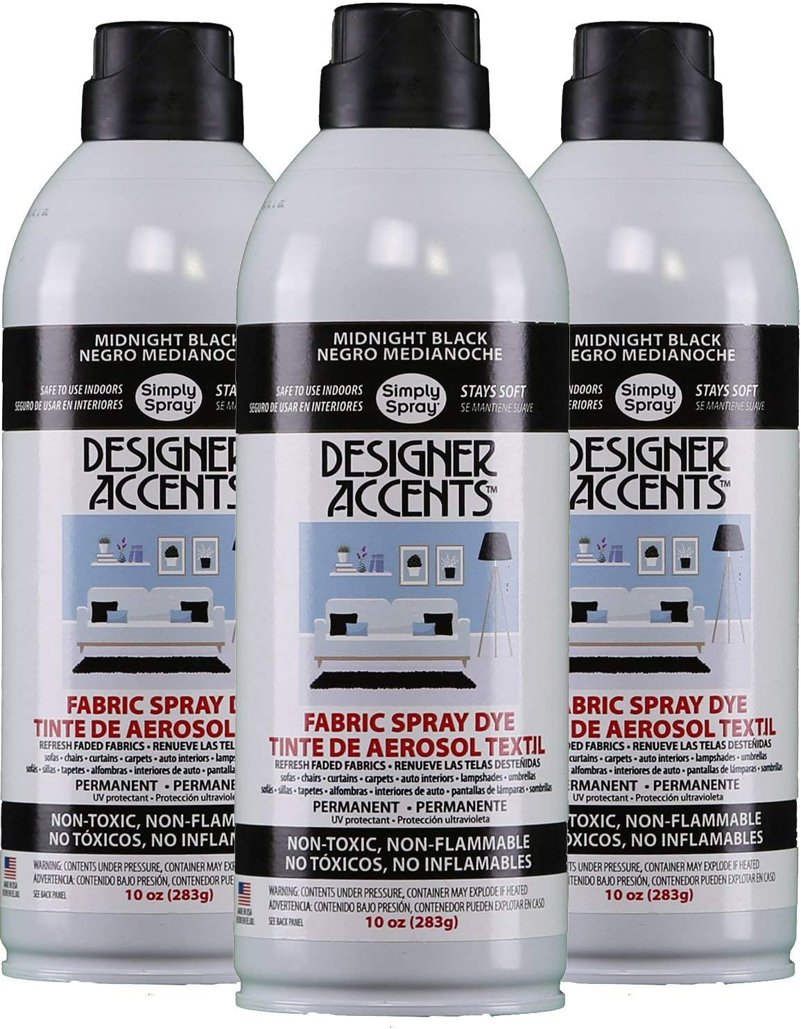 Designer Accents Fabric Paint Spray Dye by Simply Spray - Black (3)