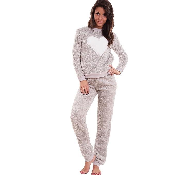 Toocool – Pijama de Mujer, de piel de Imitación, camiseta de Manga Larga y Pantalones B1636: Amazon.es: Ropa y accesorios